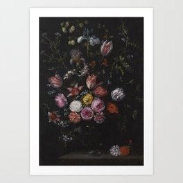 1650 Still Life with tulips, carnations, irises and other flowers in a vase by Jan Breughel the Youn Art Print