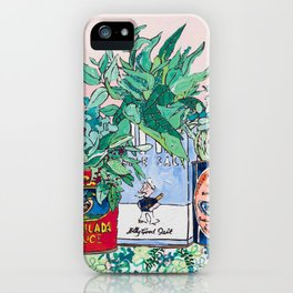 Jungle Botanical in Colorful Cans on Pink - Still Life iPhone Case