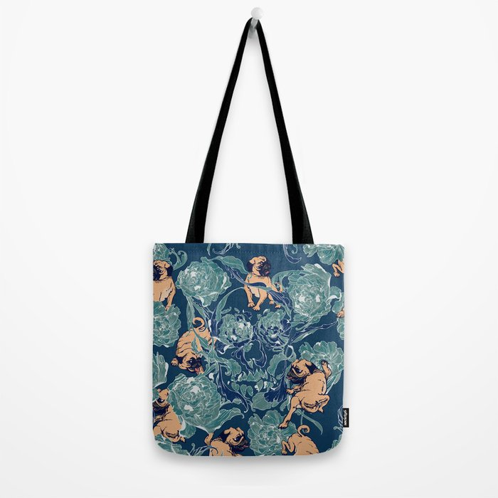 Climbing Pug & Floral Tote Bag