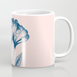 Minimal flower duo art in pink and blue Coffee Mug