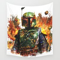 boba Wall Tapestries featuring Boba Fett by ururuty
