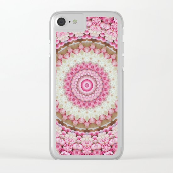 Pink Floral Mandala Clear iPhone Case