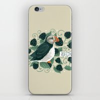 puffin iPhone & iPod Skins featuring Blackberry Puffin by Kelsey King Illustration