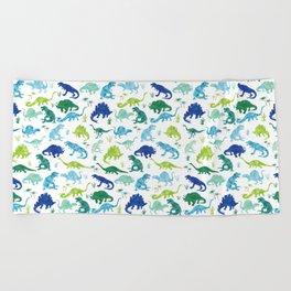 Watercolor Dinosaur Pattern White Green Blue Beach Towel
