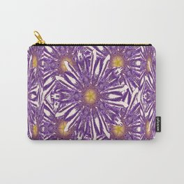 Abstracted Purple-White Flower Pattern Design Carry-All Pouch