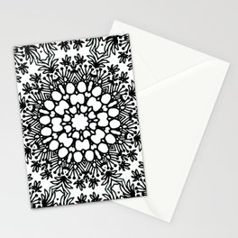 Scribbled pebbles and flowers mandala Stationery Cards