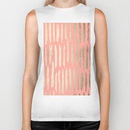 Vertical Dash Tahitian Gold on Coral Pink Stripes Biker Tank