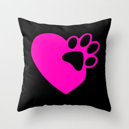 Cute Heart Paw Print product Funny Love Gift For Cat Owners Throw Pillow