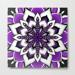 Mandala : Purple Flower Bold Metal Print