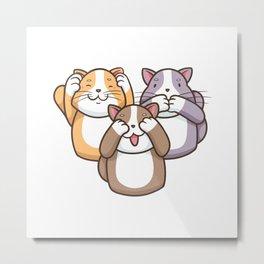 Wise cats no see no hear no talk funny cartoon cat Metal Print