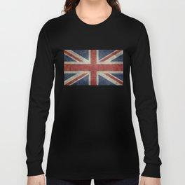 England's Union Jack, Dark Vintage 3:5 scale Long Sleeve T-shirt