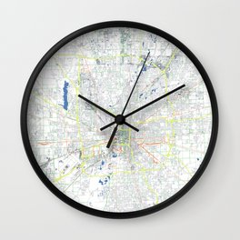 Indianapolis' POP urban map Wall Clock
