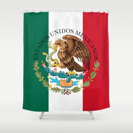 Flag of Mexico with Coat of Arms (augmented scale) Shower Curtain