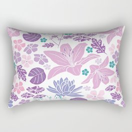 Purple and pink Japanese pond foral Rectangular Pillow