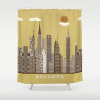 atlanta Shower Curtains featuring Atlanta city vintage by bri.buckley