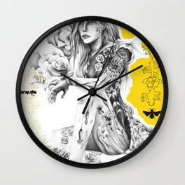 Eurydice among roses Wall Clock