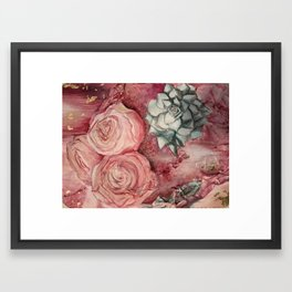 2 Roses and a Succulent Framed Art Print