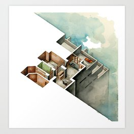 HIGH-RISE. Isometric architectural illustration of skyscraper in watercolor Art Print
