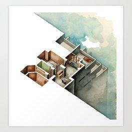 Isometric architectural illustration of skyscraper in watercolor Art Print