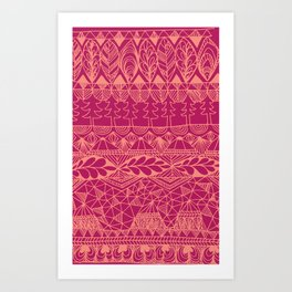 Mountain Tapestry in Sunset Pink Art Print