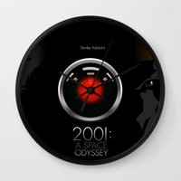 2001 a space odyssey Wall Clocks featuring 2001 - A space odyssey by Martin Woutisseth
