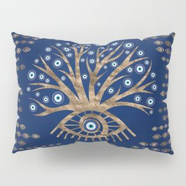 Greek Eye Tree - Mati Mataki - Matiasma Gold and blue Pillow Sham