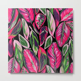Pink leaves pattern Metal Print