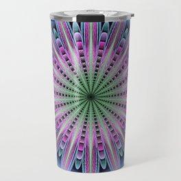 Artistic fantasy flower mandala Travel Mug
