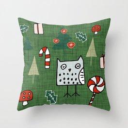 Christmas Owl Green #Christmas #Holiday Throw Pillow