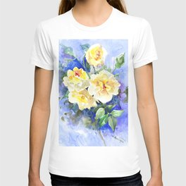 Yellow Roses and Blue , garden floral art, yellow blue watercolor T-shirt