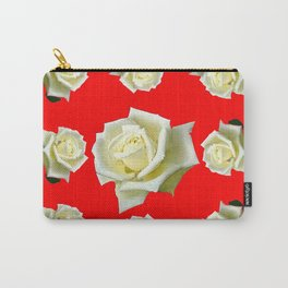 WHITE ROSES RED GARDEN DESIGN Carry-All Pouch