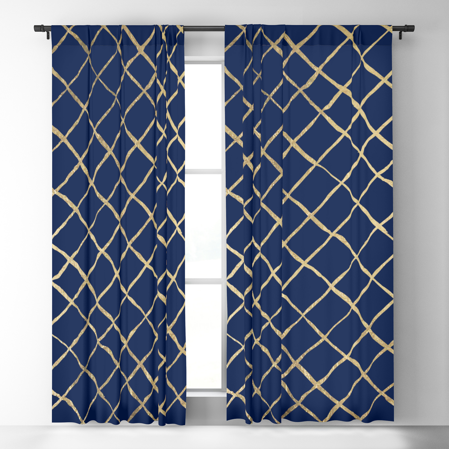 Elegant abstract geometrical navy blue gold pattern Blackout