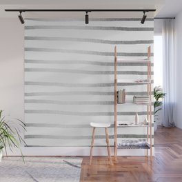 Simply Drawn Stripes Moonlight Silver Wall Mural