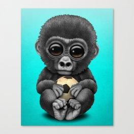 Cute Baby Gorilla With Football Soccer Ball Canvas Print