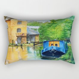 A narrow boat stops after passing through Coxes Lock near Addlestone in Surrey.  Rectangular Pillow