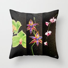 Australia Orchid Cooktown Queen of Sheba Flowers Stems  Throw Pillow
