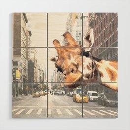 Selfie Giraffe in New York Wood Wall Art