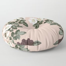 Bee Blackberry Bramble Coral Pink Floor Pillow