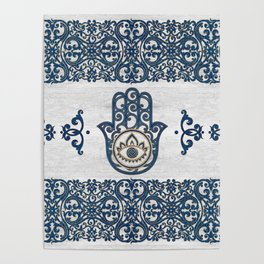 Hamsa Hand Hand of Fatima blue wood Poster