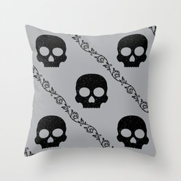 Skulls & Flowers - Silver V2 Throw Pillow