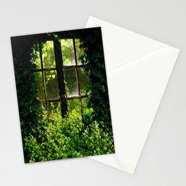 Green idyllic overgrown cottage garden window Stationery Cards
