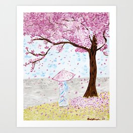 Cherry Tree Geisha Art Print