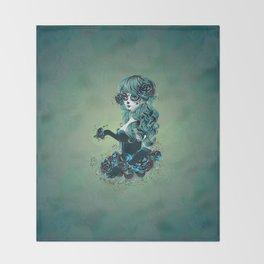 Sugar skull girl in blue Throw Blanket