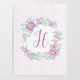 Monogram H - cute girls purple florals flower wreath, lilac florals, baby girl, baby blanket Poster