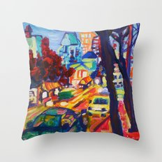 Rushing From Downtown  Throw Pillow