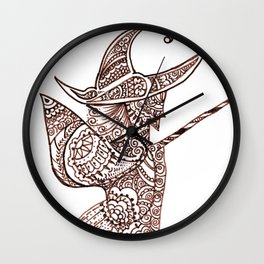 38. Henna Witch flying by the Broom in the Halloween NIght  Wall Clock