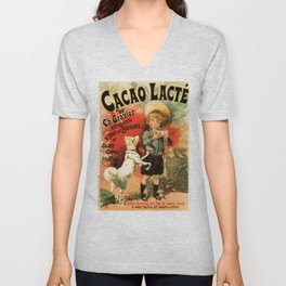 Vintage French hot chocolate advert, boy, white dog Unisex V-Neck