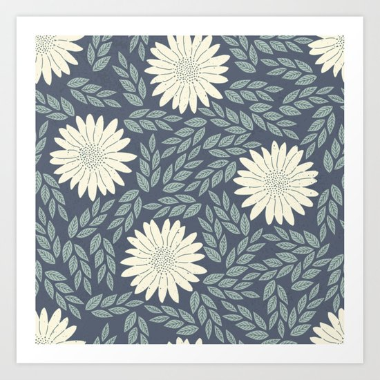 White flower retro pattern Art Print
