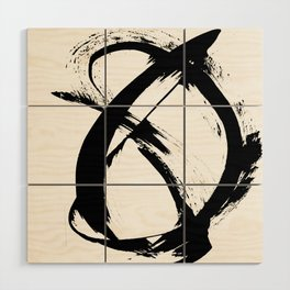 Brushstroke 7: a minimal, abstract, black and white piece Wood Wall Art