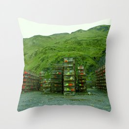 Stack of Commercial Crab Pots  Throw Pillow
